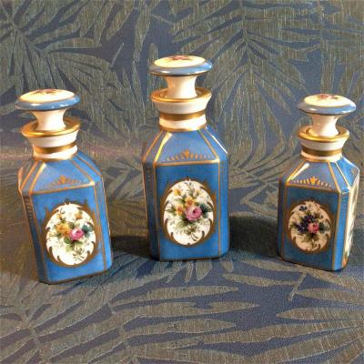 Set Of Three Sèvres Flasks Jpt Manufacture By Jules Tiélès, Paris XIX Century