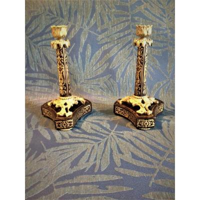 Pair Of Candlesticks In Marquetry Boulle