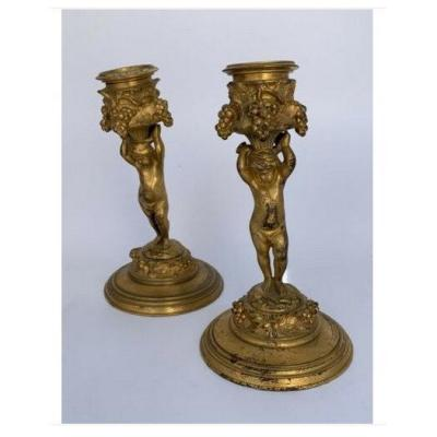 Pair Of Candlesticks In Gilt Bronze.ferdinand Barbedienne