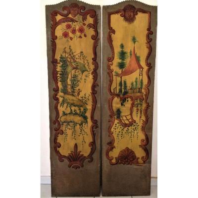Panneaux  XIX Siècle.   Peinture Gouache Au  Décor De  Scène Au Chinois