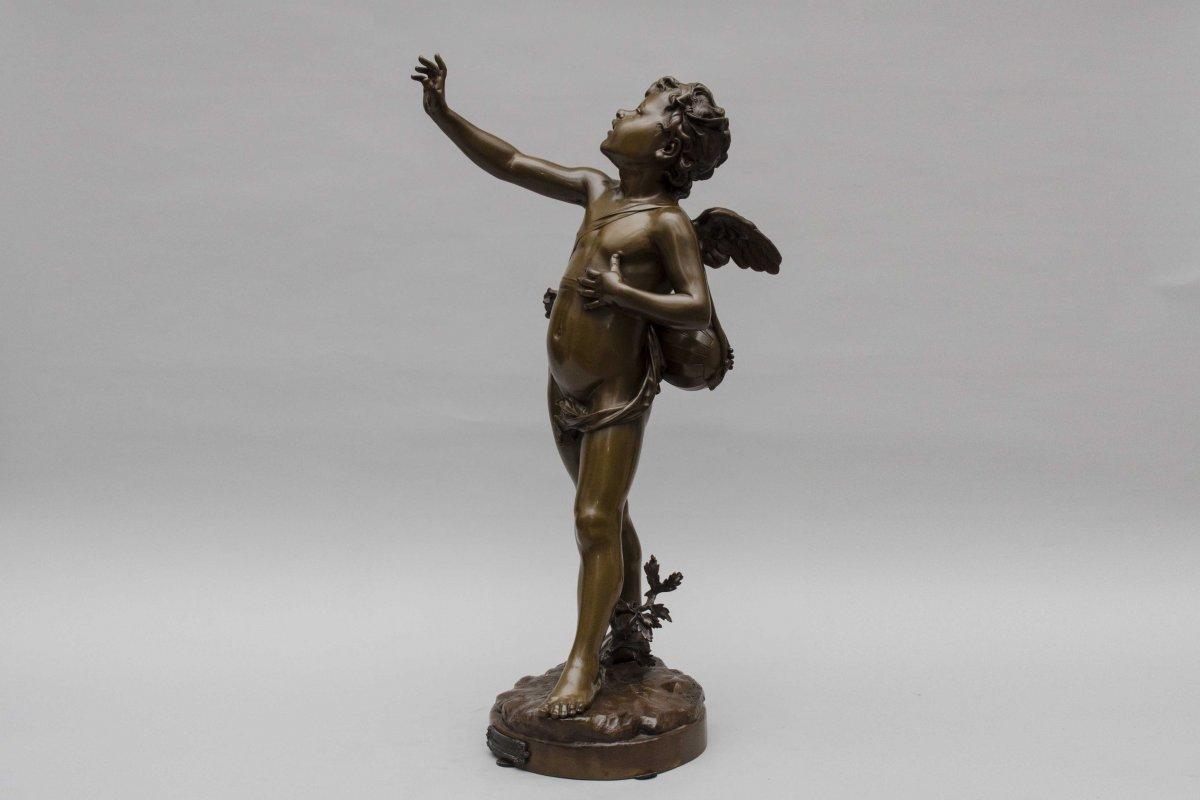 """bronze """"AMOUR CHANTEUR"""" de BOURET EUTROPE, Paris 1833 - 1906-photo-1"""