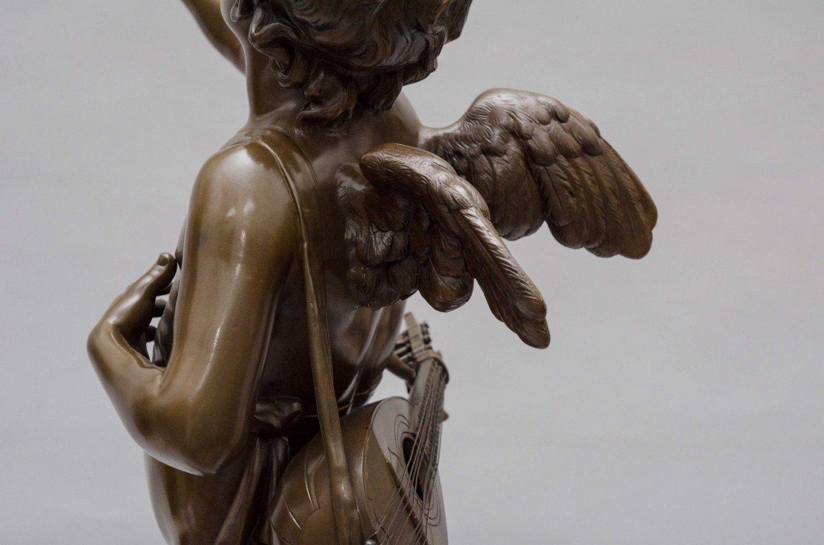 """bronze """"AMOUR CHANTEUR"""" de BOURET EUTROPE, Paris 1833 - 1906-photo-3"""