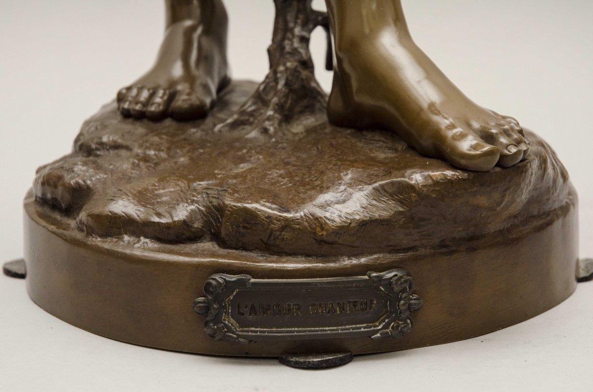 """bronze """"AMOUR CHANTEUR"""" de BOURET EUTROPE, Paris 1833 - 1906-photo-6"""