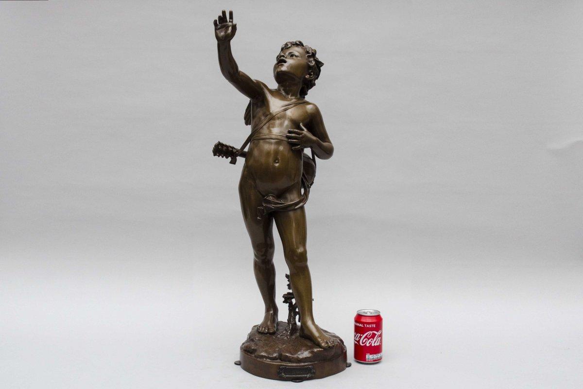 """bronze """"AMOUR CHANTEUR"""" de BOURET EUTROPE, Paris 1833 - 1906-photo-7"""