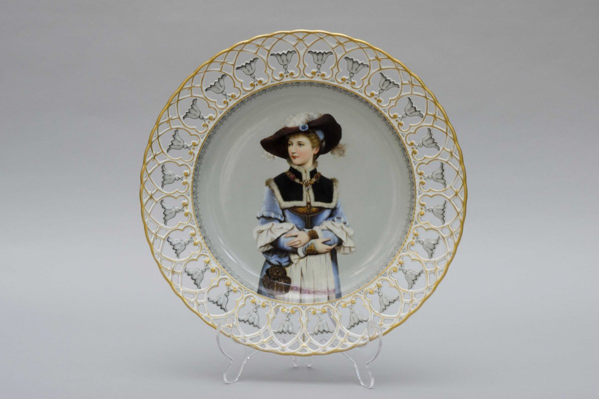 Large Openwork Plate Decorated With A Portrait Of A Woman,  Helena Wolfsohn, Dresden 19th Cent