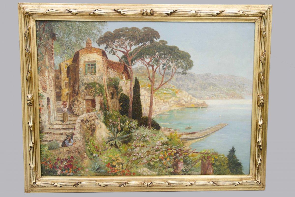 "Large Oil On Canvas ""the Amalfi Coast"", Alois Arnegger, 19th Century"