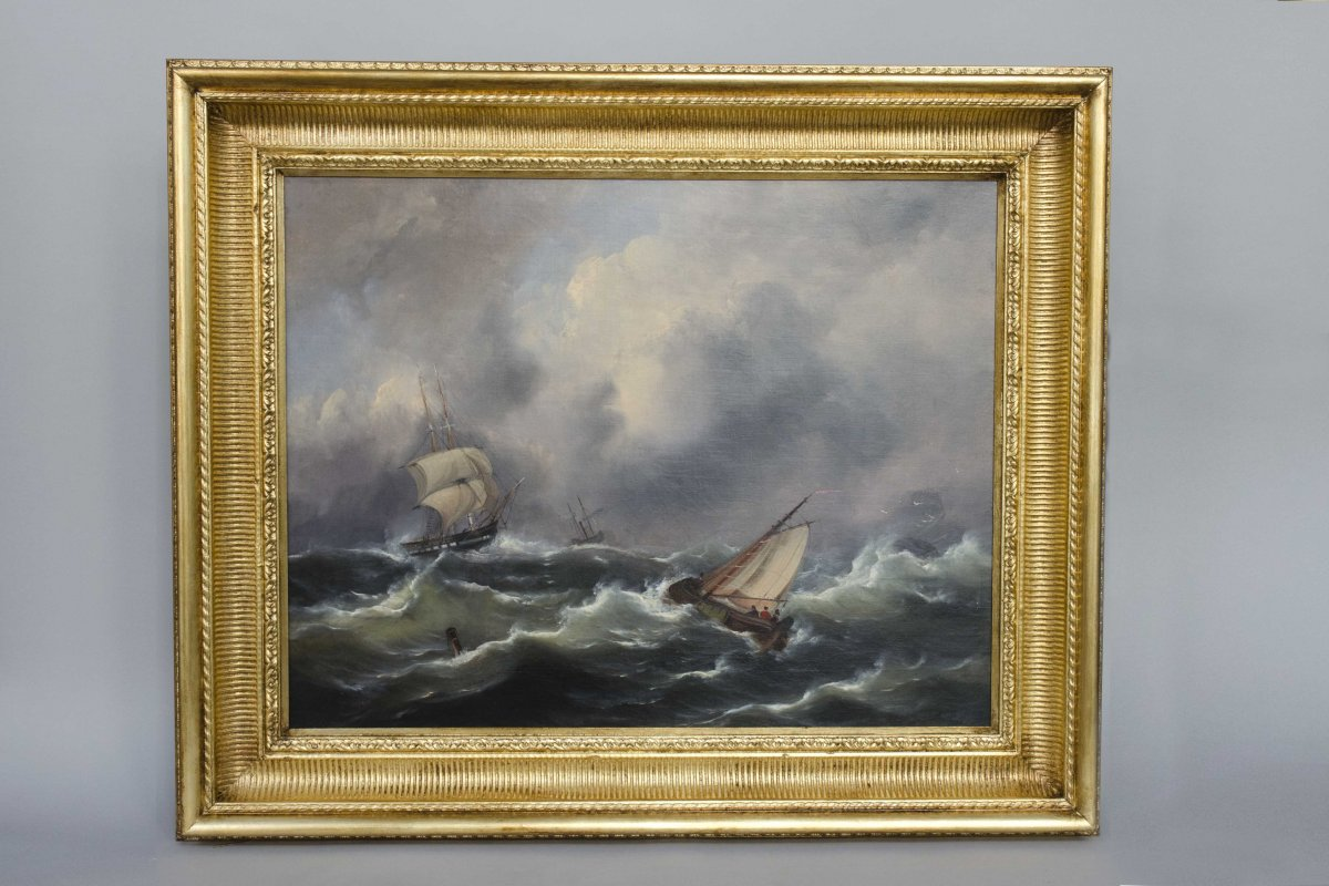 An Oil On Canvas, Seascape During A Storm, Musin François, Belgian Shool, 19th Century