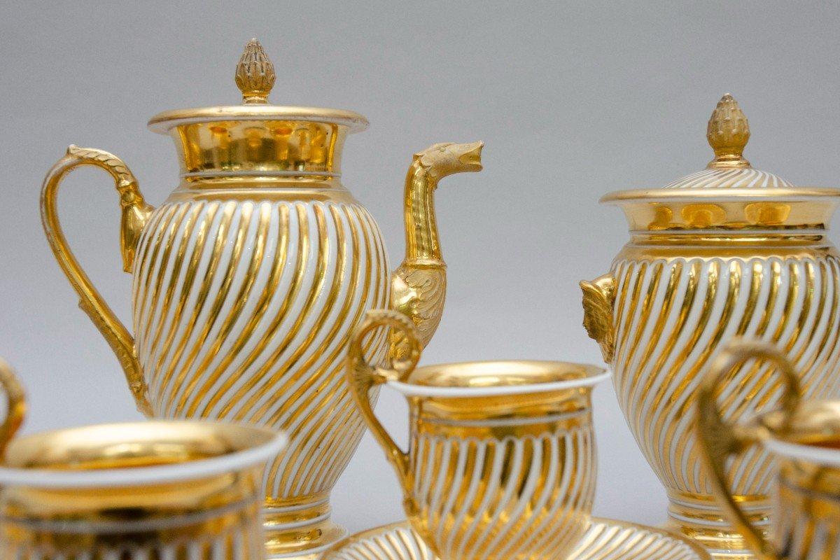 """Service en porcelaine """"torsade"""" blanc et or, Schoelcher à Paris, vers 1830-photo-2"""