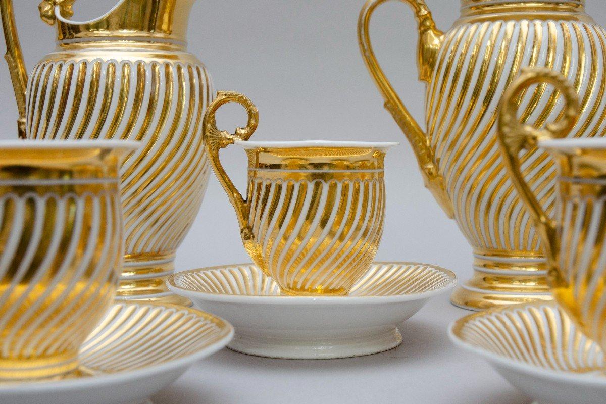 """Service en porcelaine """"torsade"""" blanc et or, Schoelcher à Paris, vers 1830-photo-3"""