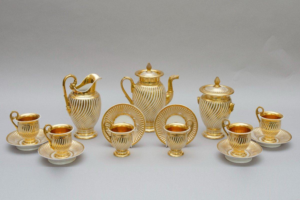 """Service en porcelaine """"torsade"""" blanc et or, Schoelcher à Paris, vers 1830-photo-4"""