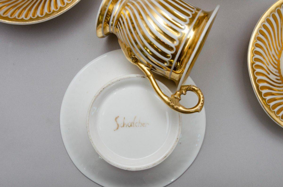 """Service en porcelaine """"torsade"""" blanc et or, Schoelcher à Paris, vers 1830-photo-1"""