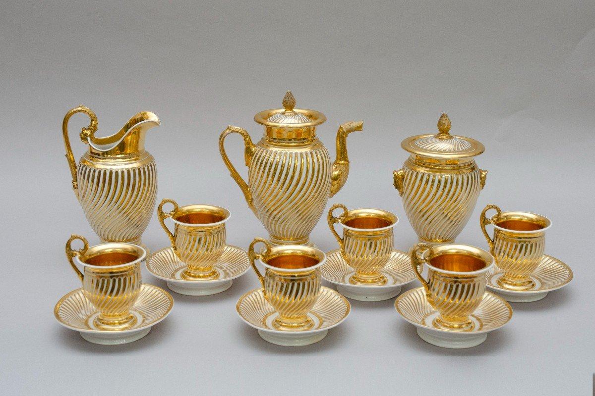 """Service en porcelaine """"torsade"""" blanc et or, Schoelcher à Paris, vers 1830"""