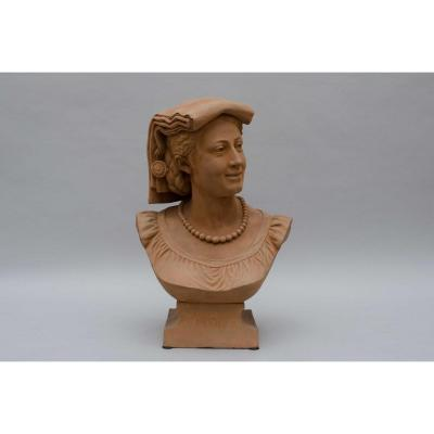 "Terracotta Bust  ""le Modèle"" By Louis Robyn, Dated 1879"