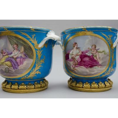 Pair Of Gilt Bronze Mounted Jadinieres Urns In Bleu Celeste Porcelain In The Sevres Manner, Paris 19th Century