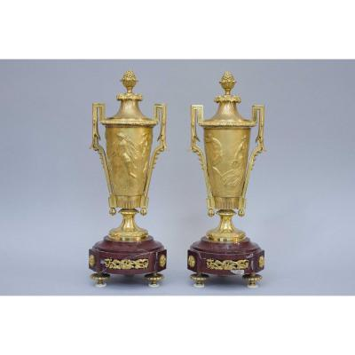 Fine Covered Gilt Bronze Vases In Neoclassical Style 19th