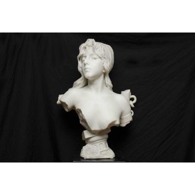 "White Marble Bust  ""capture"" By Villanis Emmanuel, Art Nouveau, H 60cm"