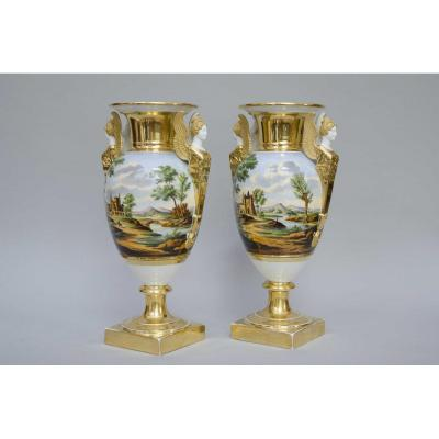 Pair Of Large Eggshaped Vases,  Italian Landscapes, H 43cm, 19th Century Paris Porcelain