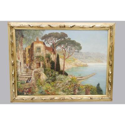 """Grande Huile sur toile """"la côte Amalfitaine"""", Alois Arnegger, 19e siècle"""