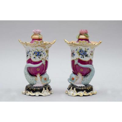 Pair Of Small Vases, Jacob Petit In Paris, Circa 1840