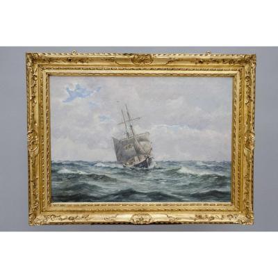 Grande Marine Impressionniste, Ocon Y Rivas Emilio (1845 - Malaga 1904), 1899, Ecole Espagnole