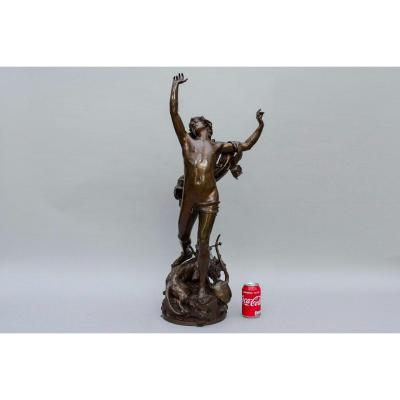 "Bronze Sculpture ""the Sorrow Of Orpheus"" By Verlet Raoul, H83cm. Barbedienne Founder Paris"