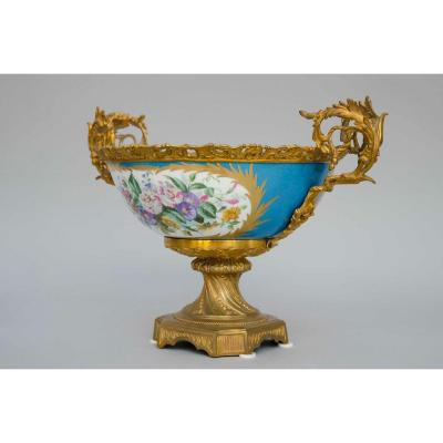 Blue Porcelain Basket In The Sèvres Style, Mounted On Gilded Bronzes, France 19th Century