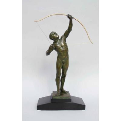 """Bronze Art déco """"Archer"""", Victor Demanet, 1932, école belge"""