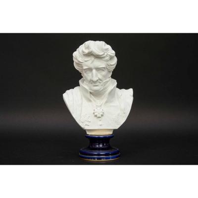 Buste En Biscuit De Sèvres De George Cuvier, Piédouche Bleu, 1880