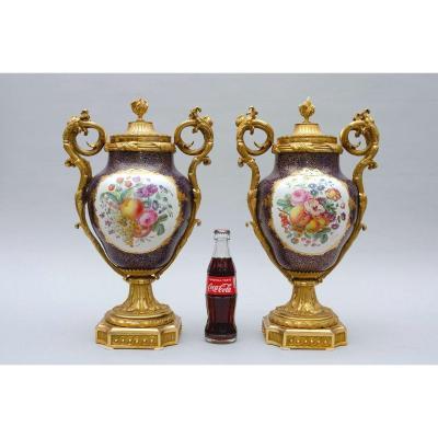 Paire De Vases Montés Sur Bronze Doré Dans Le Goût De Sèvres, Paris 19e Siècle