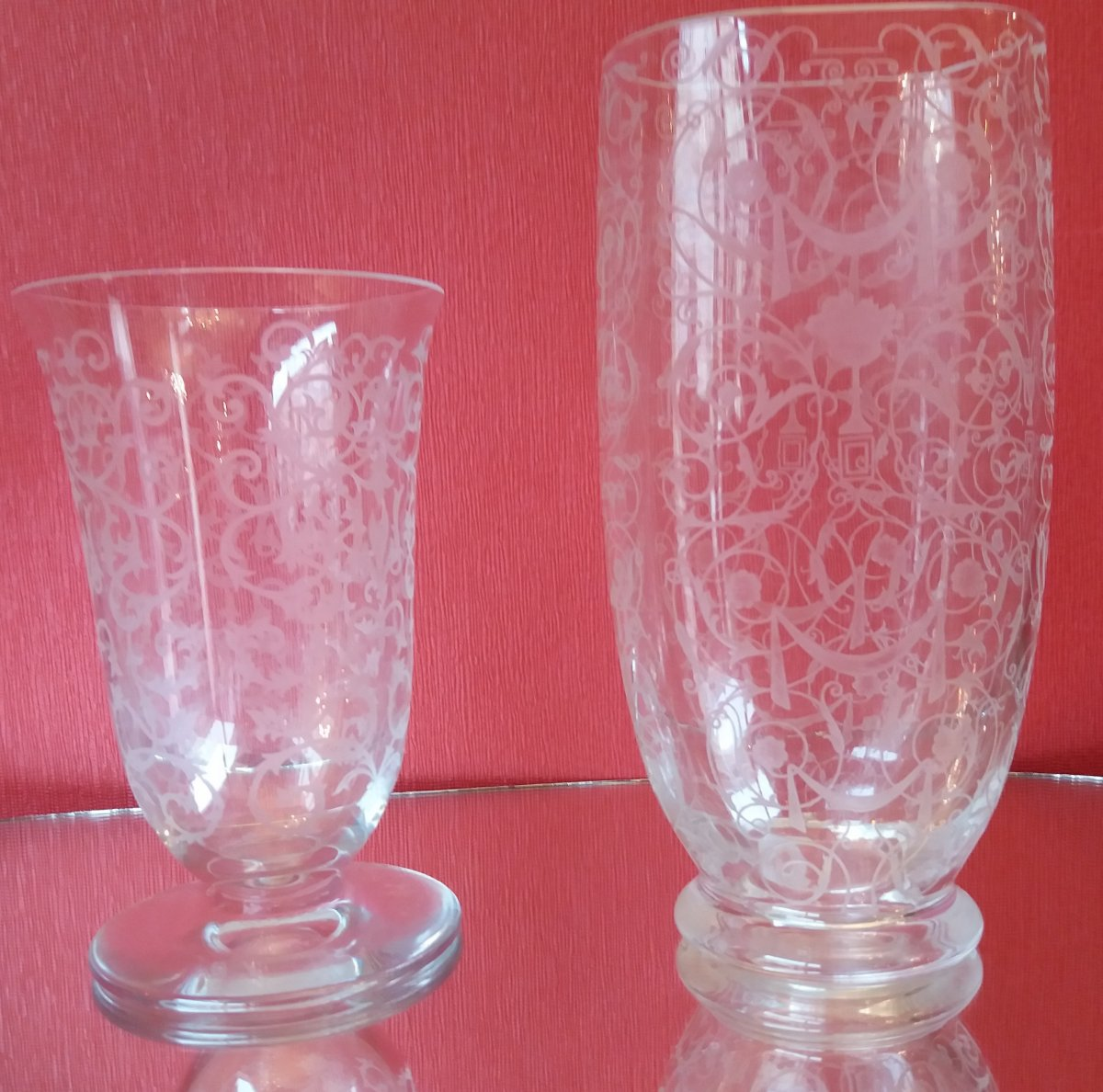Pair Of Baccarat Crystal Vases: Michelangelo Model