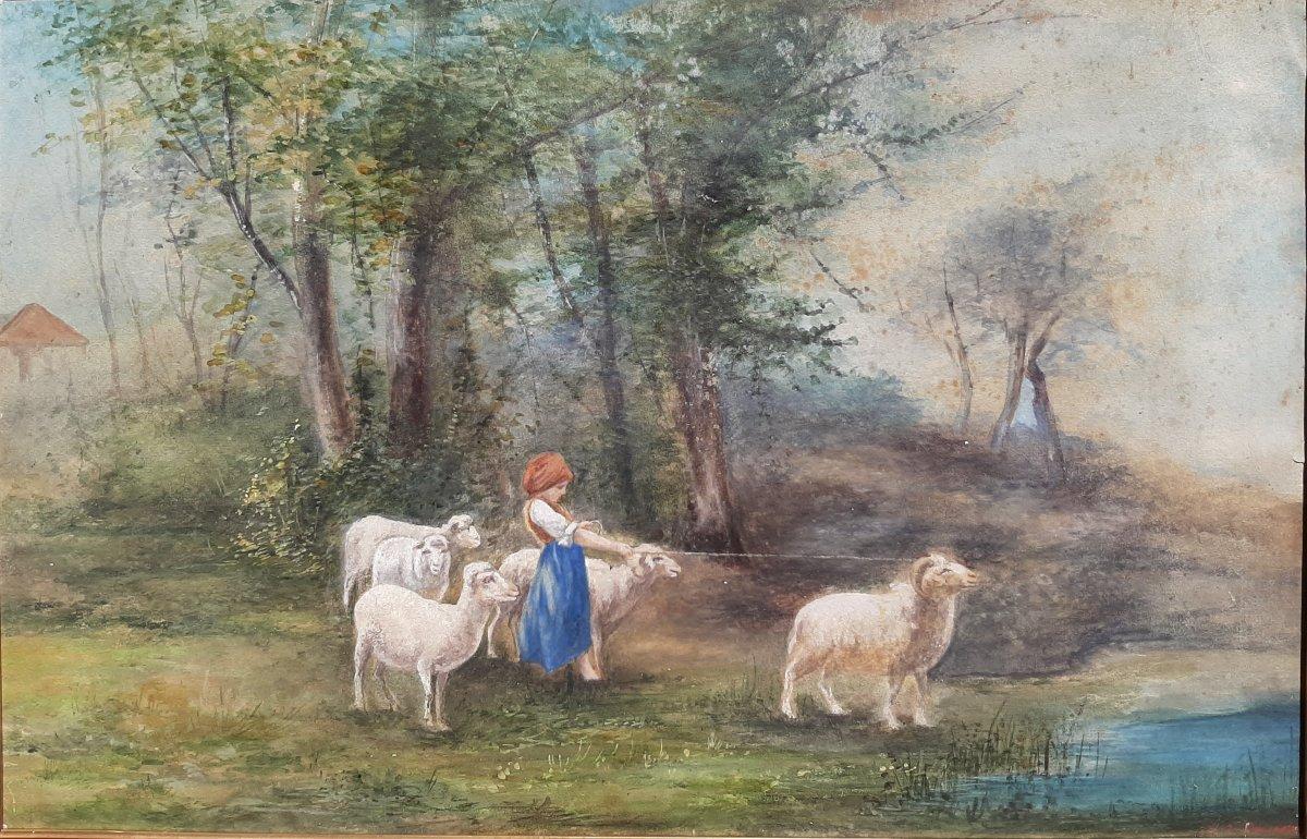 La Jeune Bergère : tableau Gouache Sur Papier 19eme Siècle