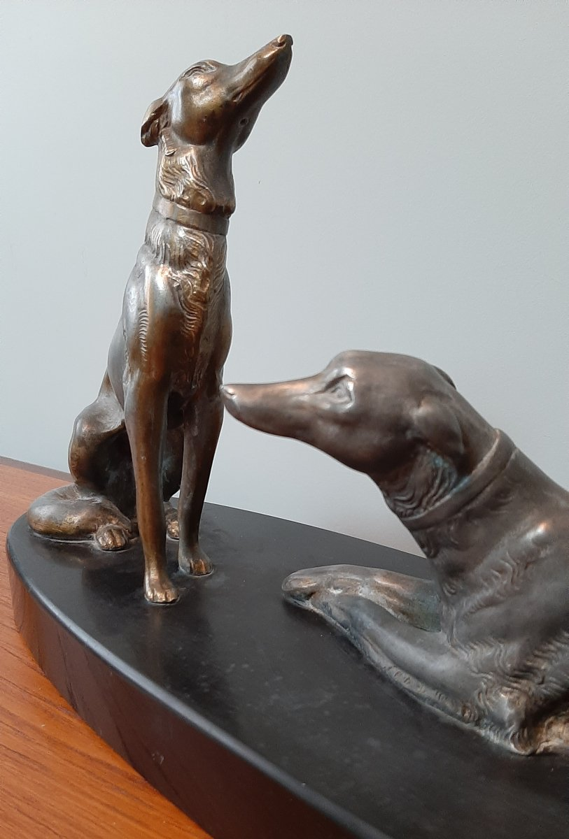 Couple Of Greyhounds: Sculpture Signed Leducq