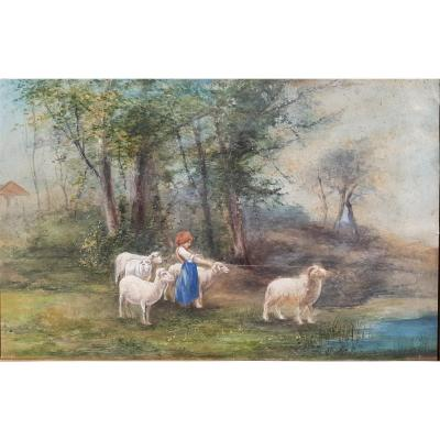 The Young Shepherdess: Gouache Painting On Paper 19th Century