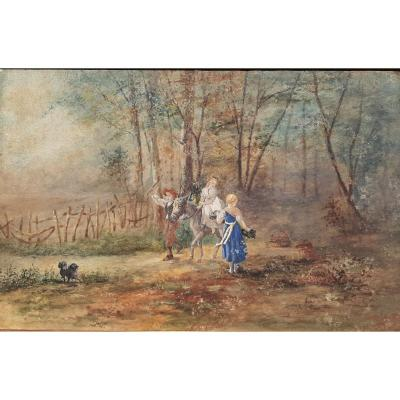 Young People At The Wood: Gouache Painting On Paper 19th Century