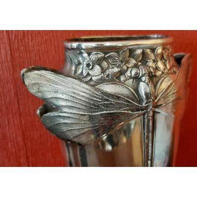 Art Nouveau Vase In Silver Metal: Gallia Dragonflies