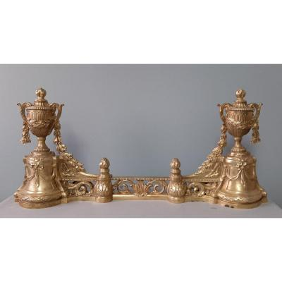 Paire De Chenets Et Repousse Braises: Style Louis XVI