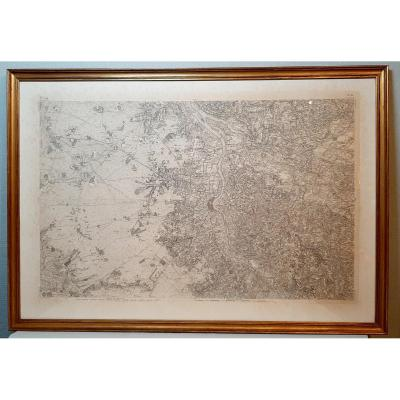 Large Map Of Bordeaux And Its Region: End Of The 18th /begining 19th Century