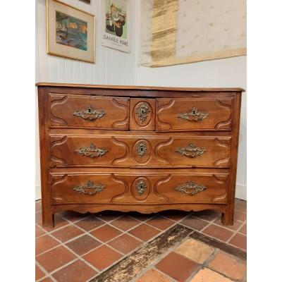 Chest Of Drawers In Walnut, Arched Louis XV Period, Original 18th Century Bronzes.