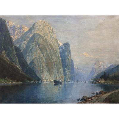 Huile Sur Toile Iles Lofoten Fin XIXème