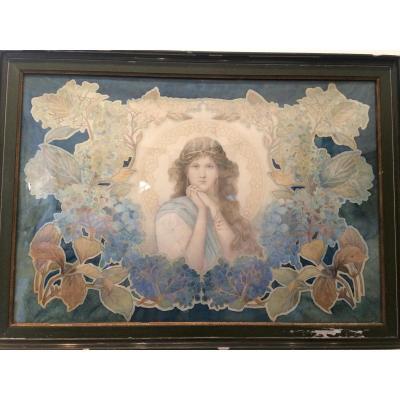 Large Watercolor - Art Nouveau