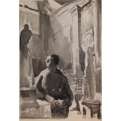 Portrait d'Alfred Janniot à La Villa Médicis Par Decaris