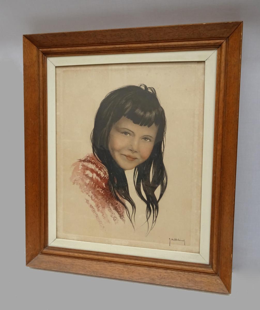 Roger Hebbelinck (1912-1987) Grande Lithographie - Jeune Mexicaine