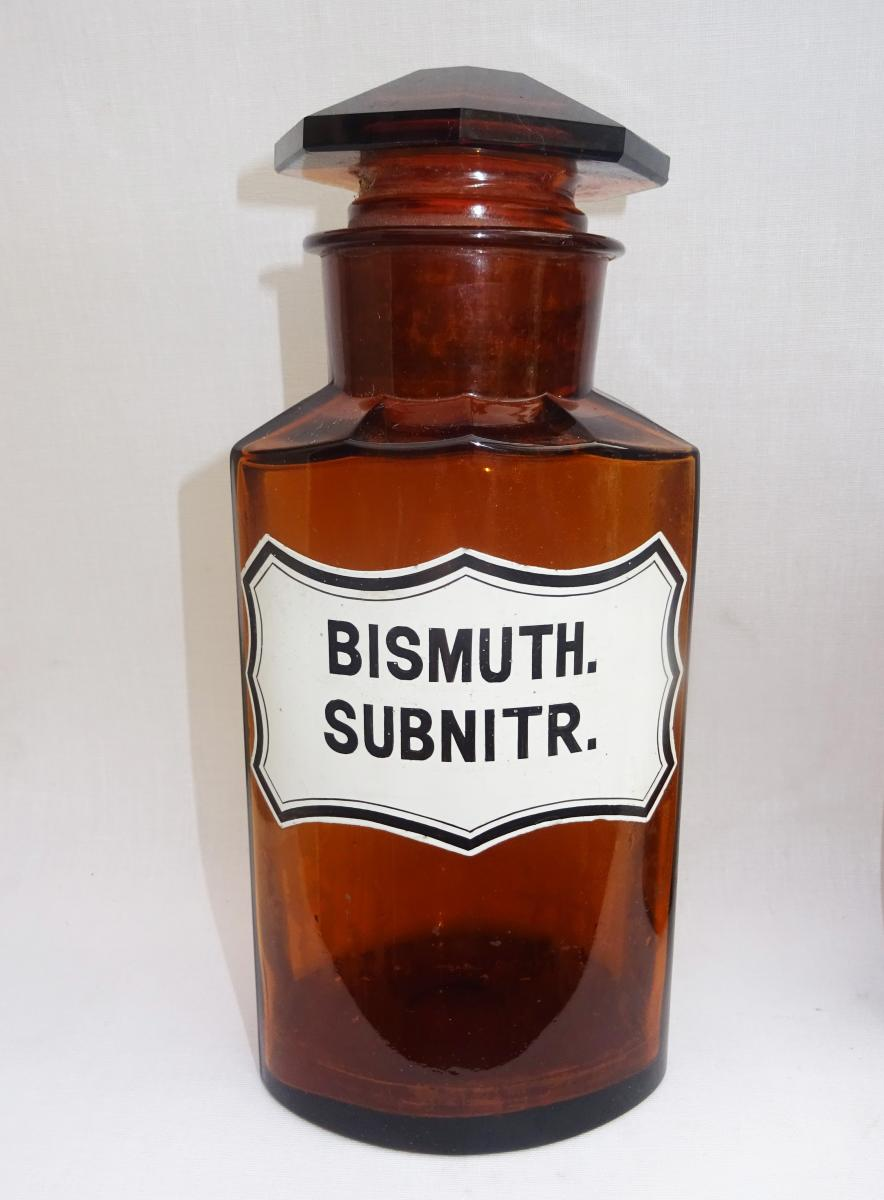 Large Pharmacy Bottle Amber Glass Glazed