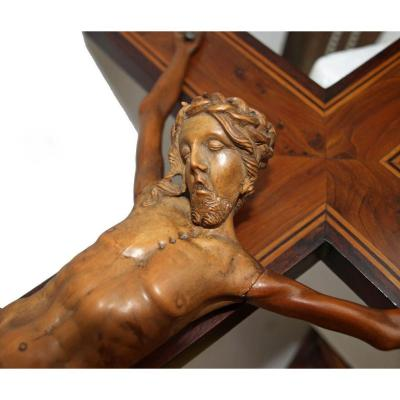 Big Christ In Carved Wood 19th Century - Magnifying Cross