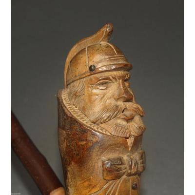 Great Pipe Of Folk Art In Carved Wood 19th Firefighter