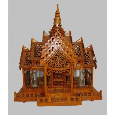 Grande Cage Ancienne à Oiseaux Architecturale - La Pagode