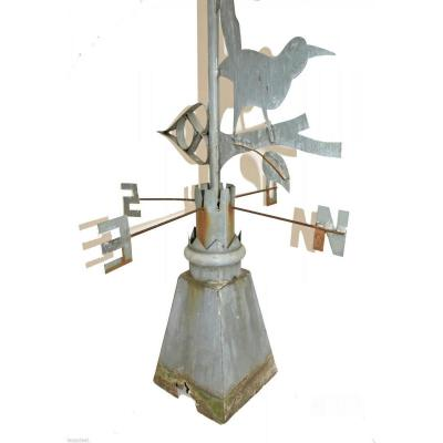 Antik Weathercock In Zing Containing A Magpie