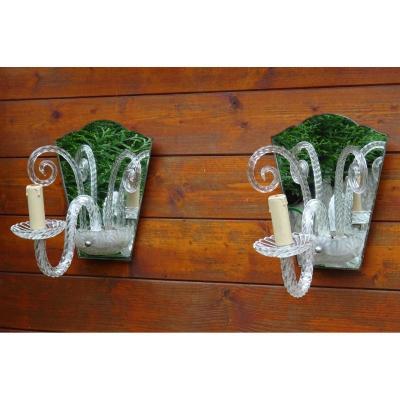 Pair Of Murano Glass Mirrored Sconces Year 1940-50