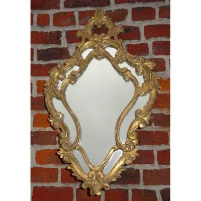 petit Miroir à Parcloses En Bois Doré 19ème