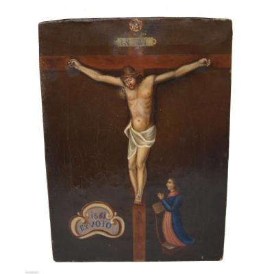 Ex Voto Painted On Canvas Dated 1861 - Flanders